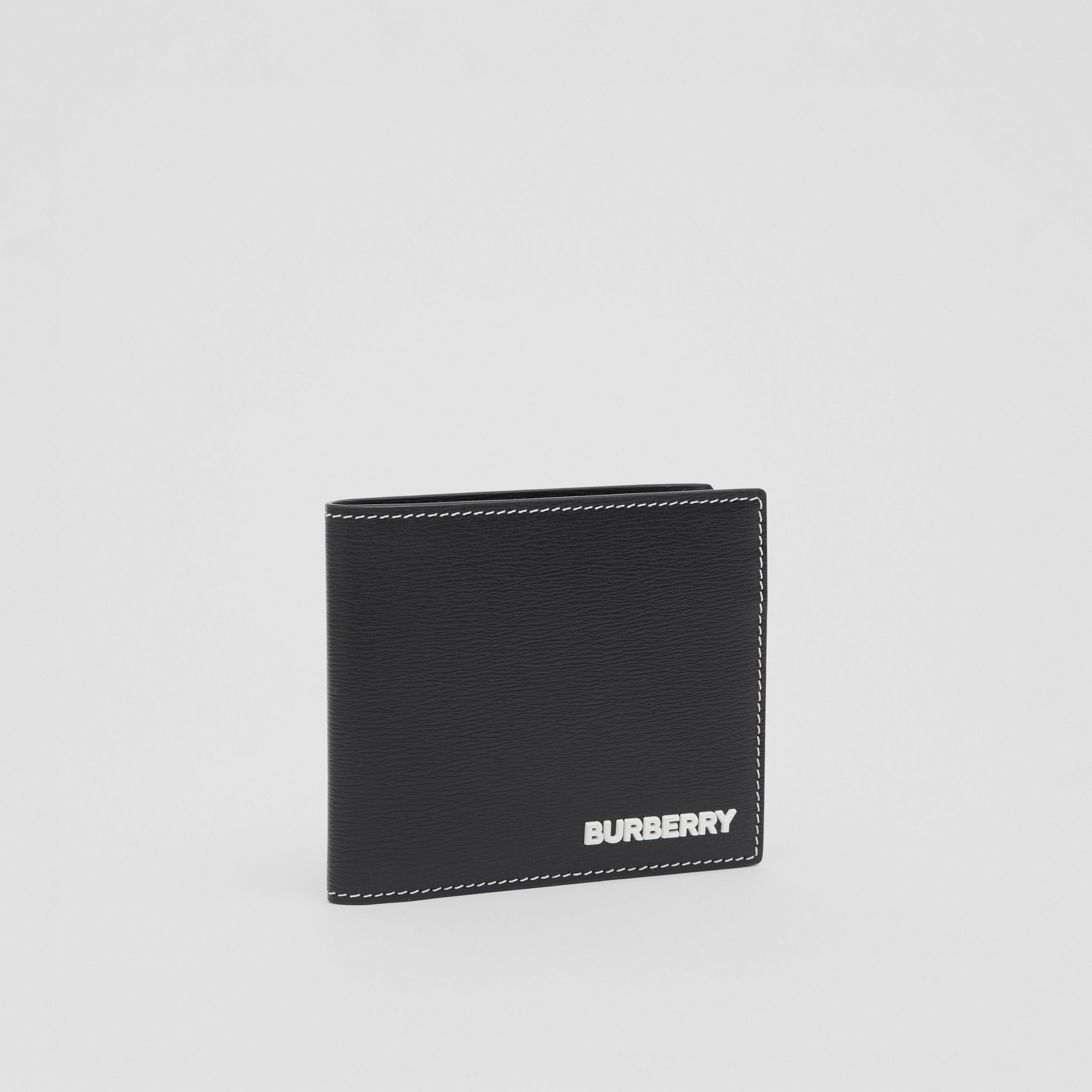 Topstitched Grainy Leather International Bifold Wallet in Black - Men | Burberry - 4