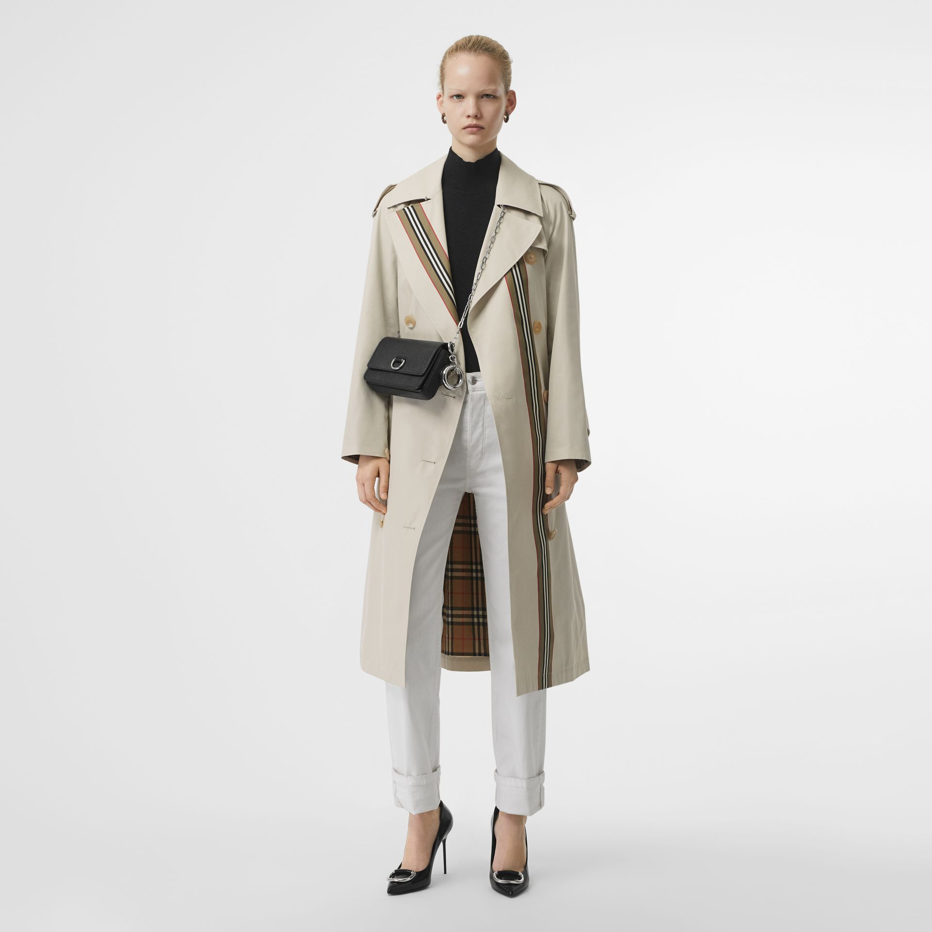 Striped Ribbon Cotton Gabardine Trench Coat in Stone - Women | Burberry - gallery image 0