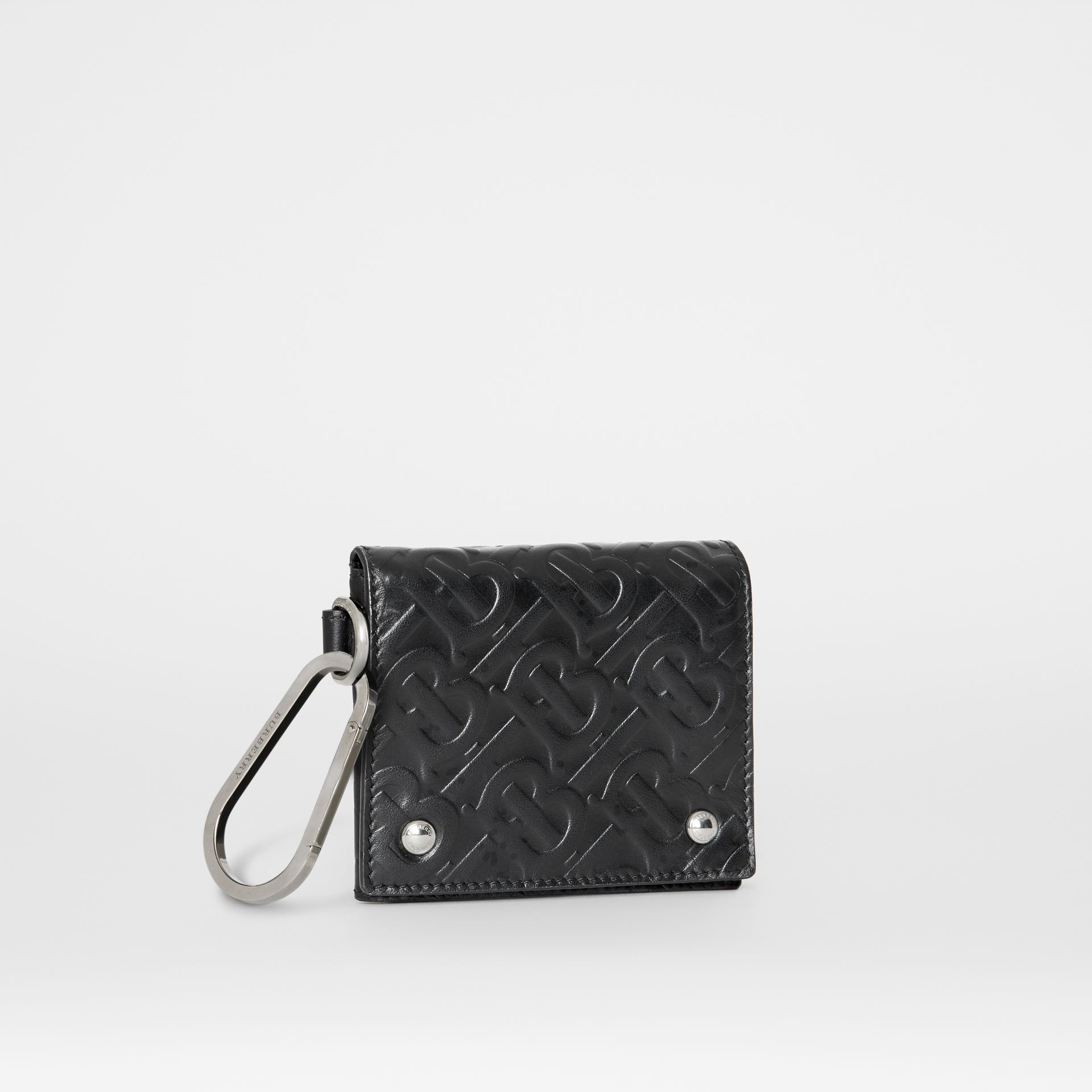 Monogram Embossed Leather Trifold Wallet in Black | Burberry - gallery image 3