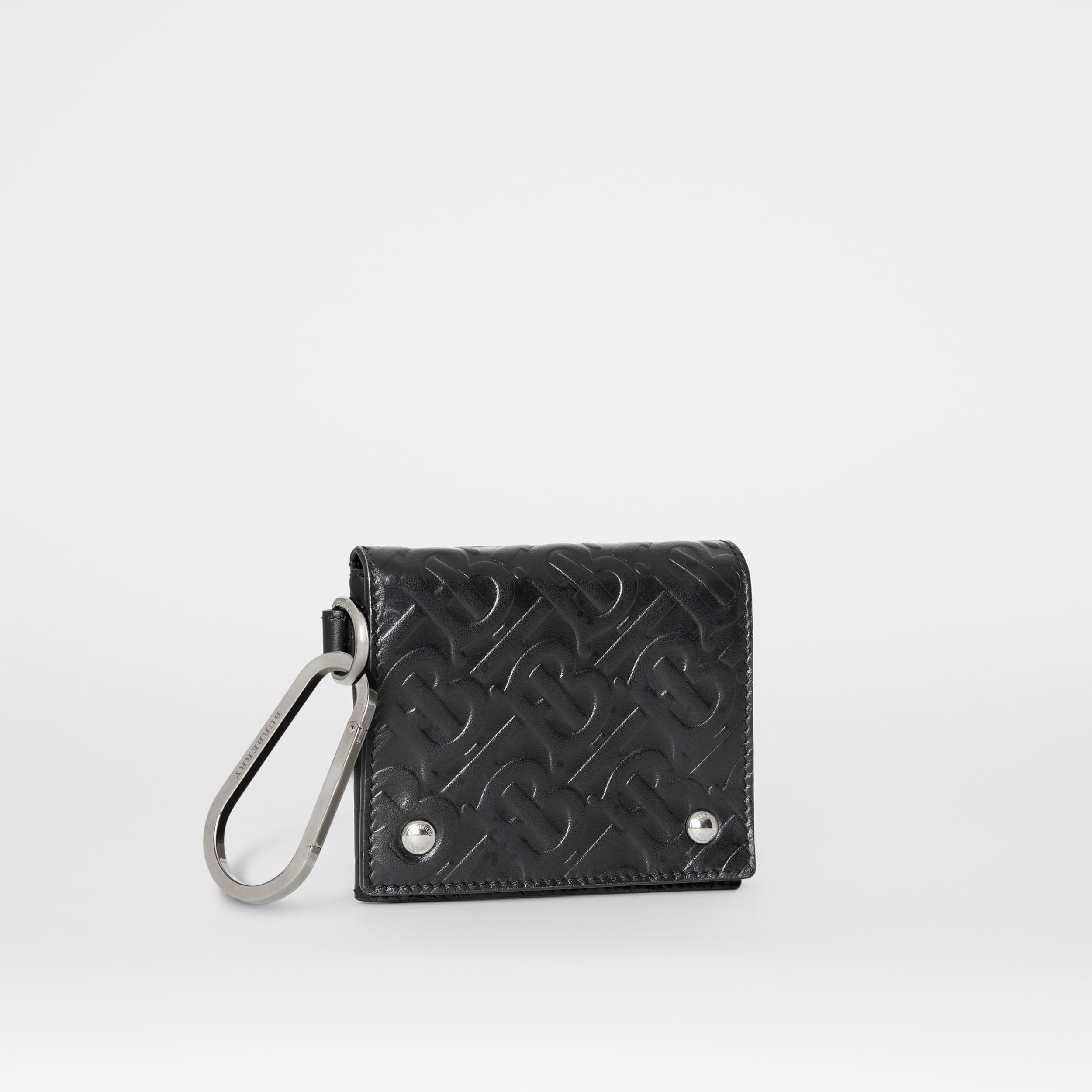 Monogram Embossed Leather Trifold Wallet in Black | Burberry - 4