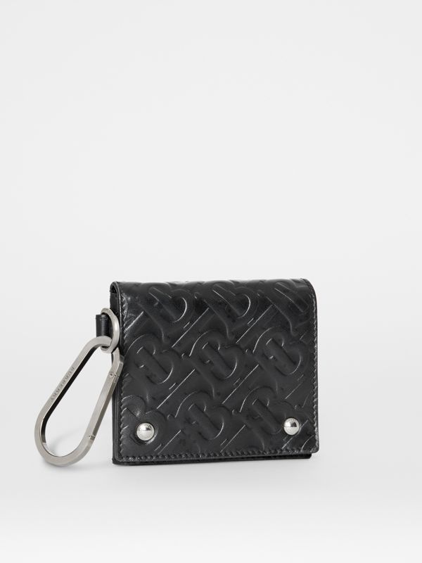 Monogram Embossed Leather Trifold Wallet in Black | Burberry - cell image 3