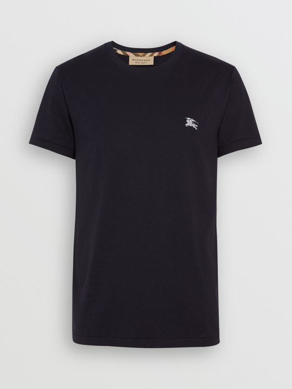 Cotton Jersey T-shirt in Navy - Men | Burberry - cell image 3