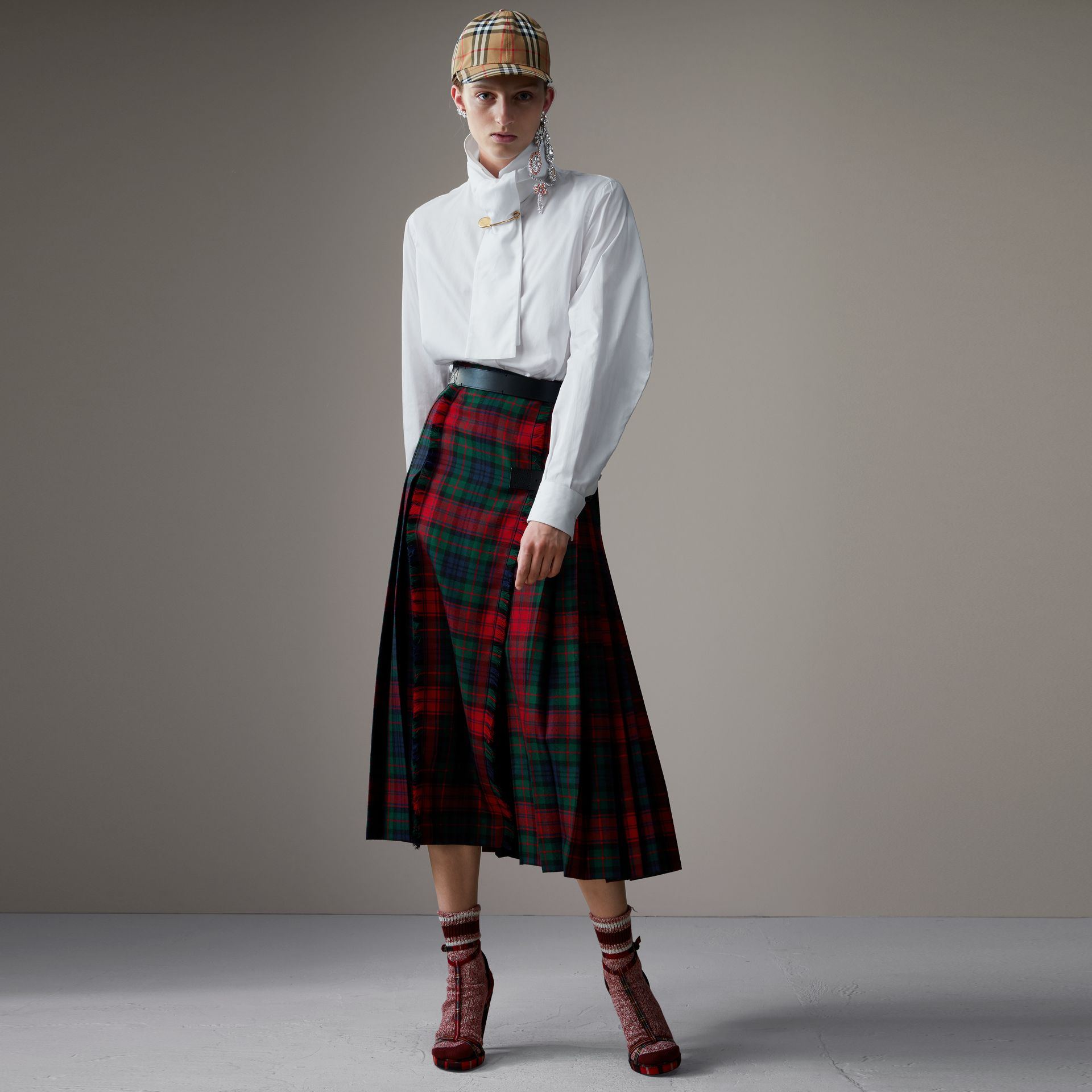 Tartan Wool High-waisted Kilt in Bright Red - Women | Burberry - gallery image 0