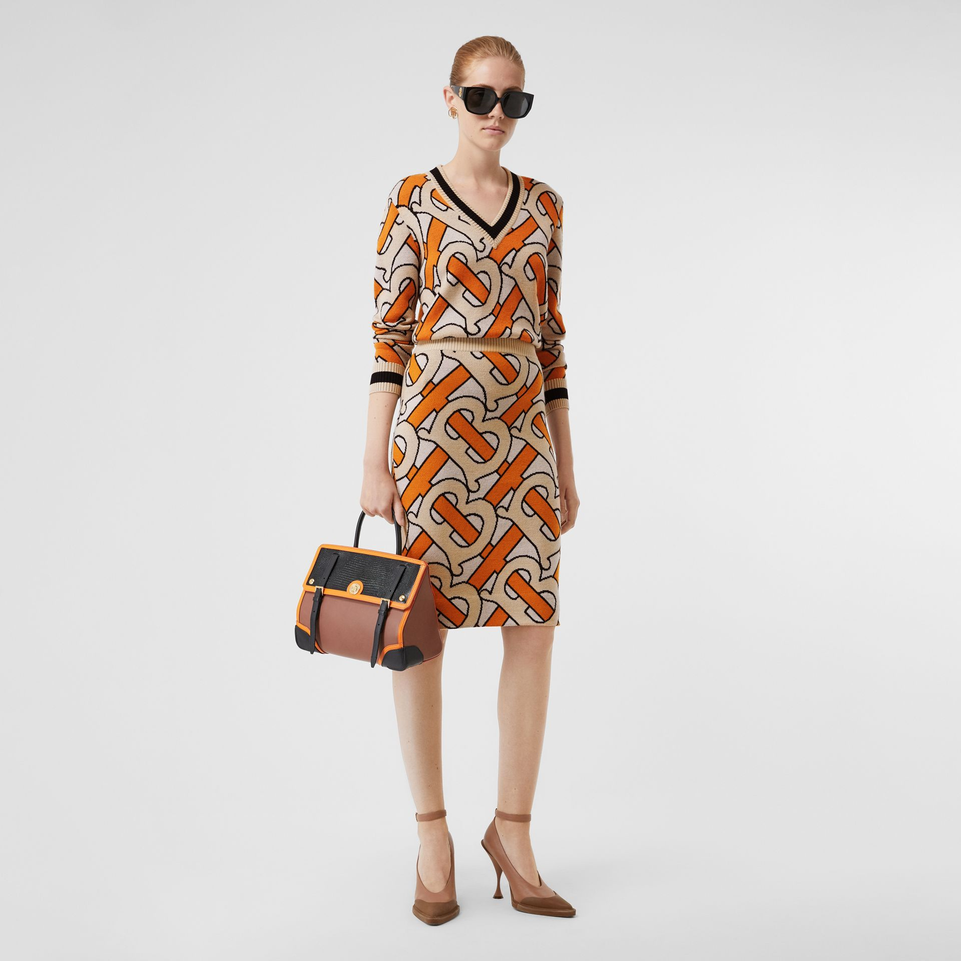 Monogram Intarsia Wool Pencil Skirt in Bright Orange - Women | Burberry - gallery image 4