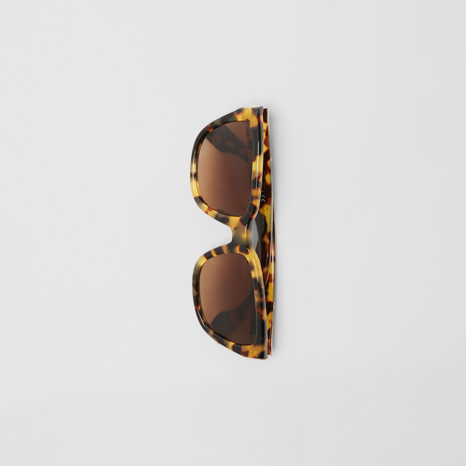 Square Frame Sunglasses in Tortoise Shell - Women | Burberry - gallery image 3