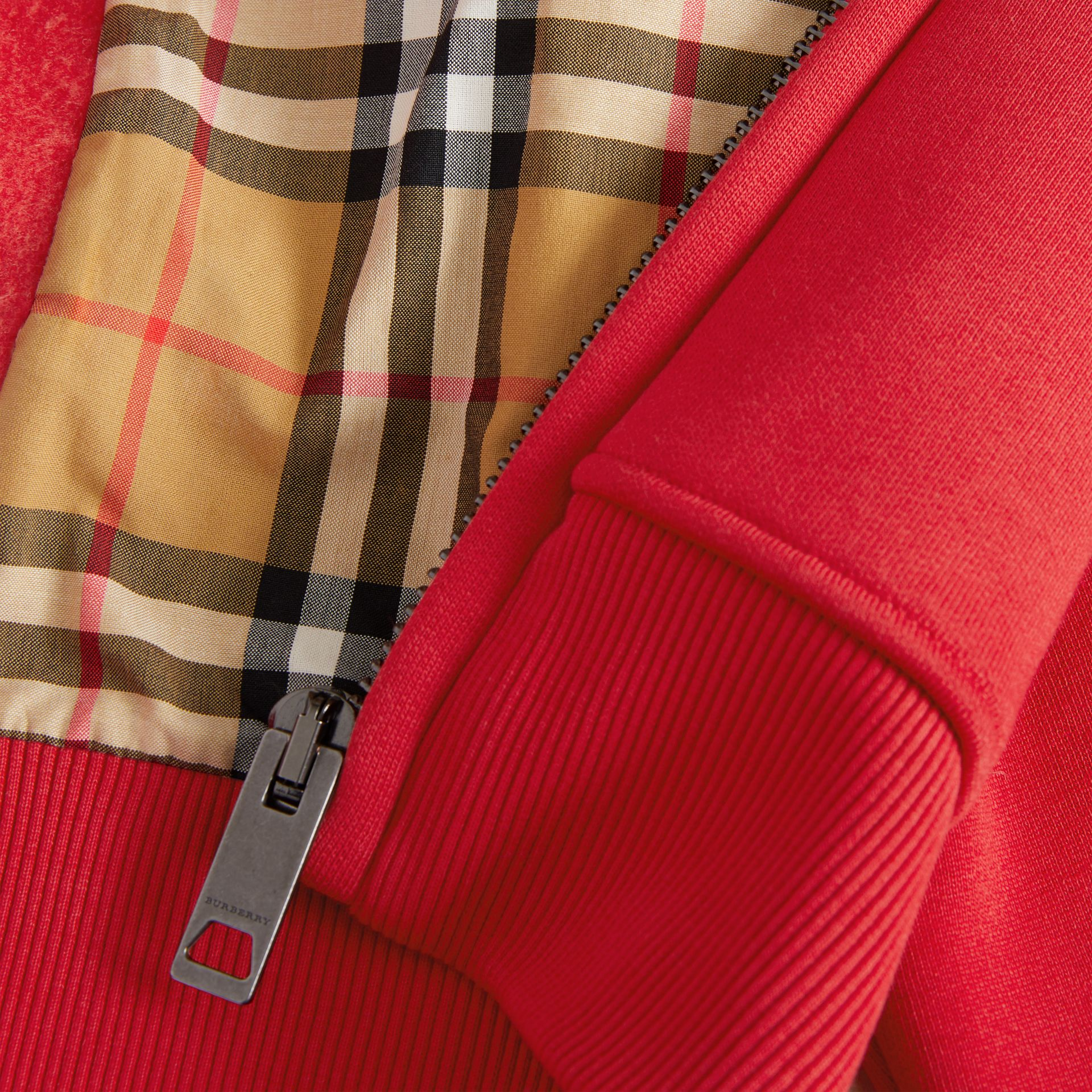Vintage Check Detail Jersey Hooded Top in Cadmium Red - Women | Burberry United Kingdom - gallery image 5
