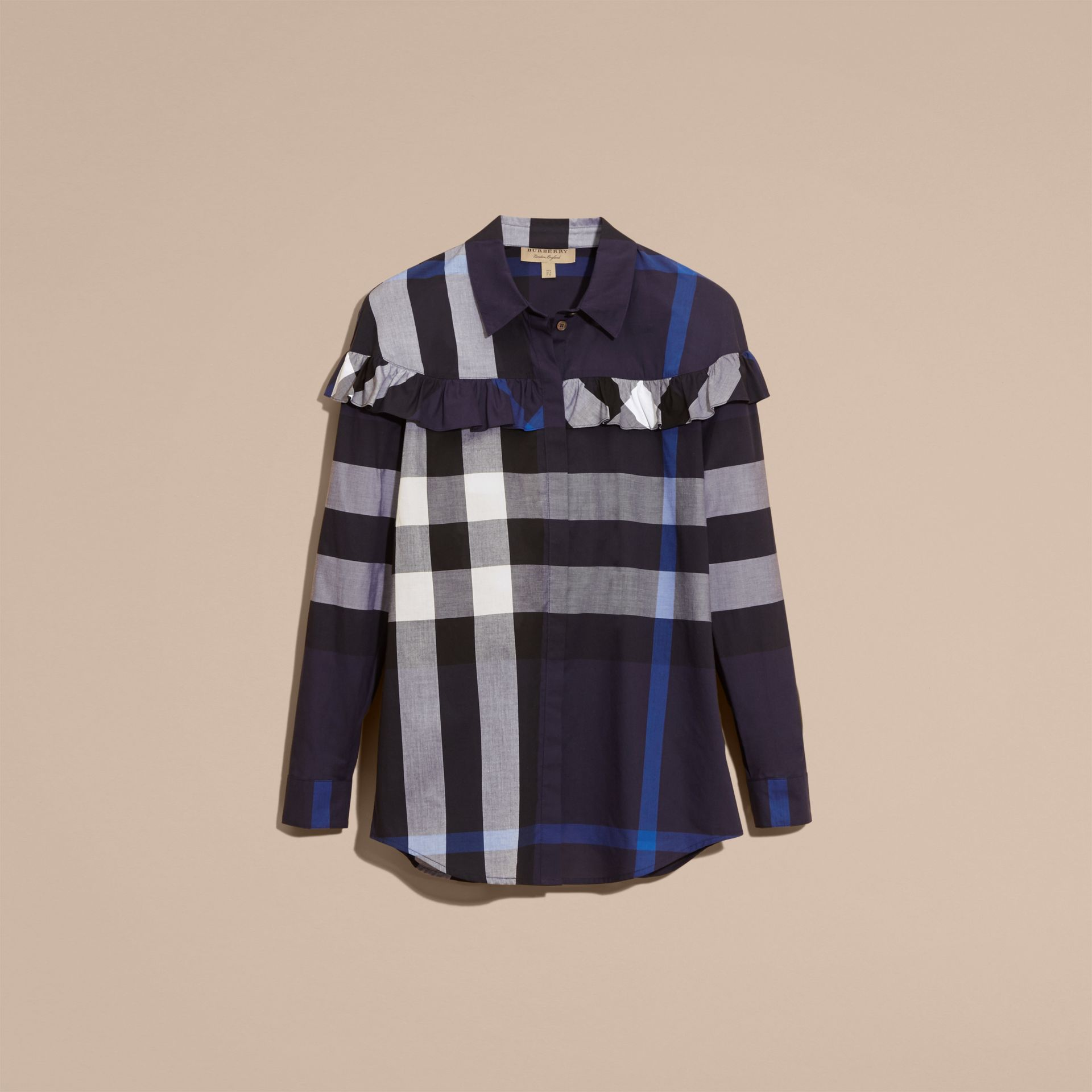 Navy Check Cotton Frill Detail Shirt Navy - gallery image 4