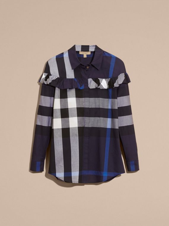 Navy Check Cotton Frill Detail Shirt Navy - cell image 3