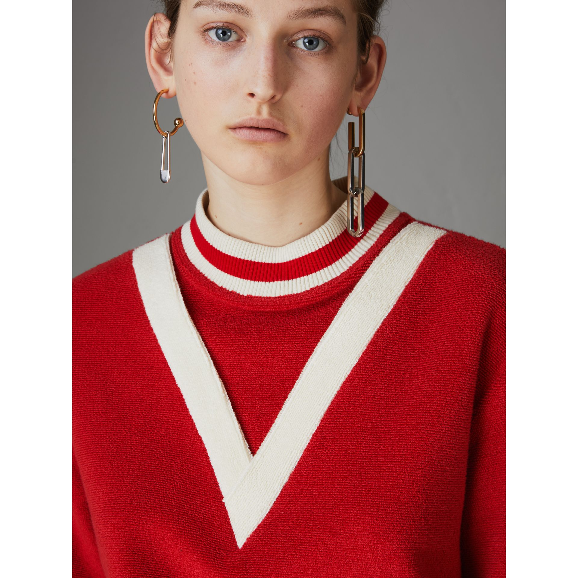 Stripe Detail Cotton Terry Top in Military Red - Women | Burberry - gallery image 1