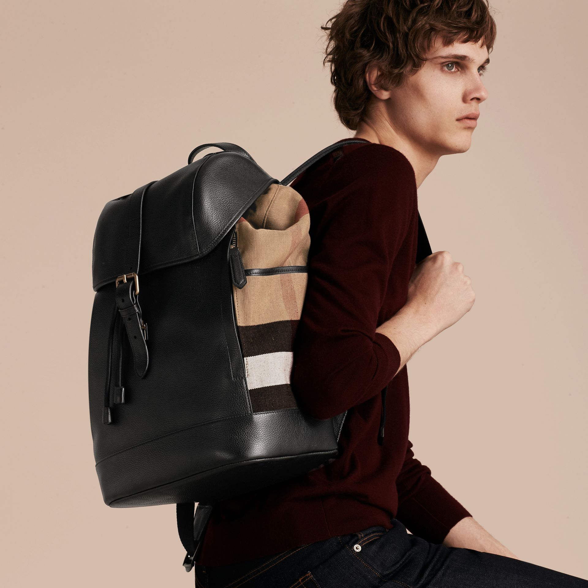 Black Leather and Canvas Check Backpack - gallery image 3
