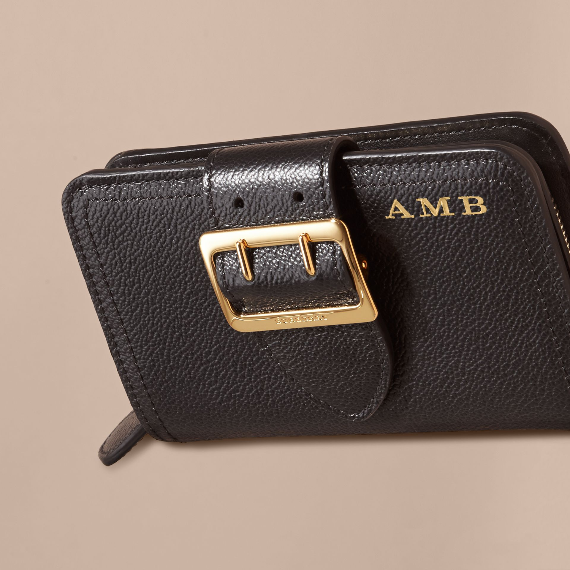 Buckle Detail Grainy Leather Wallet in Black - gallery image 4