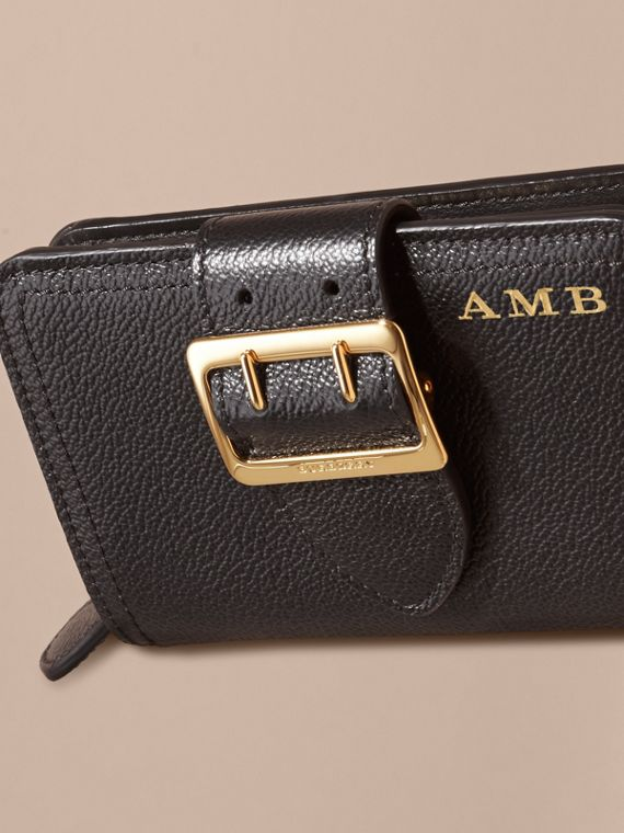 Buckle Detail Grainy Leather Wallet in Black - cell image 3