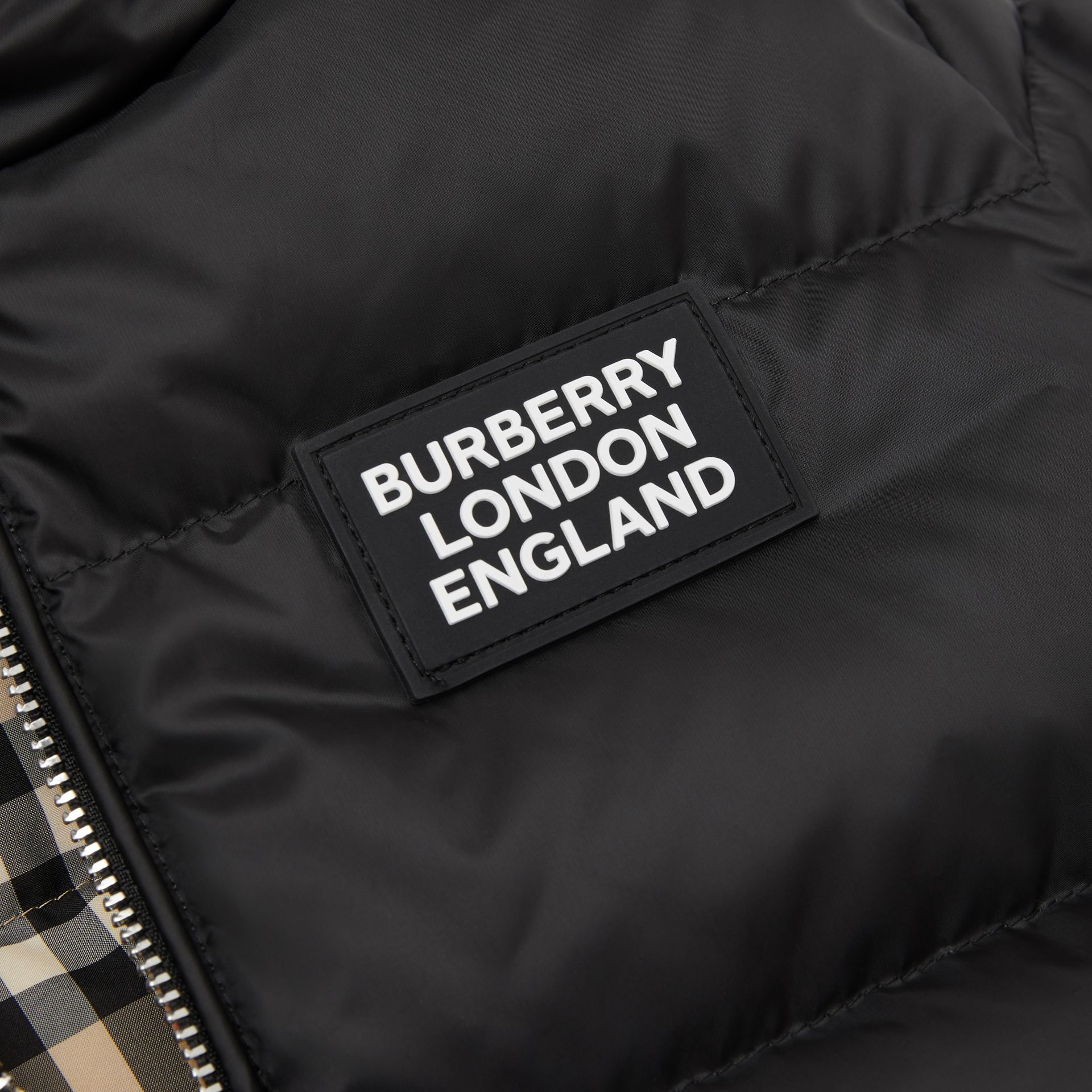 Reversible Vintage Check Down-filled Puffer Jacket in Black - Children | Burberry - gallery image 1