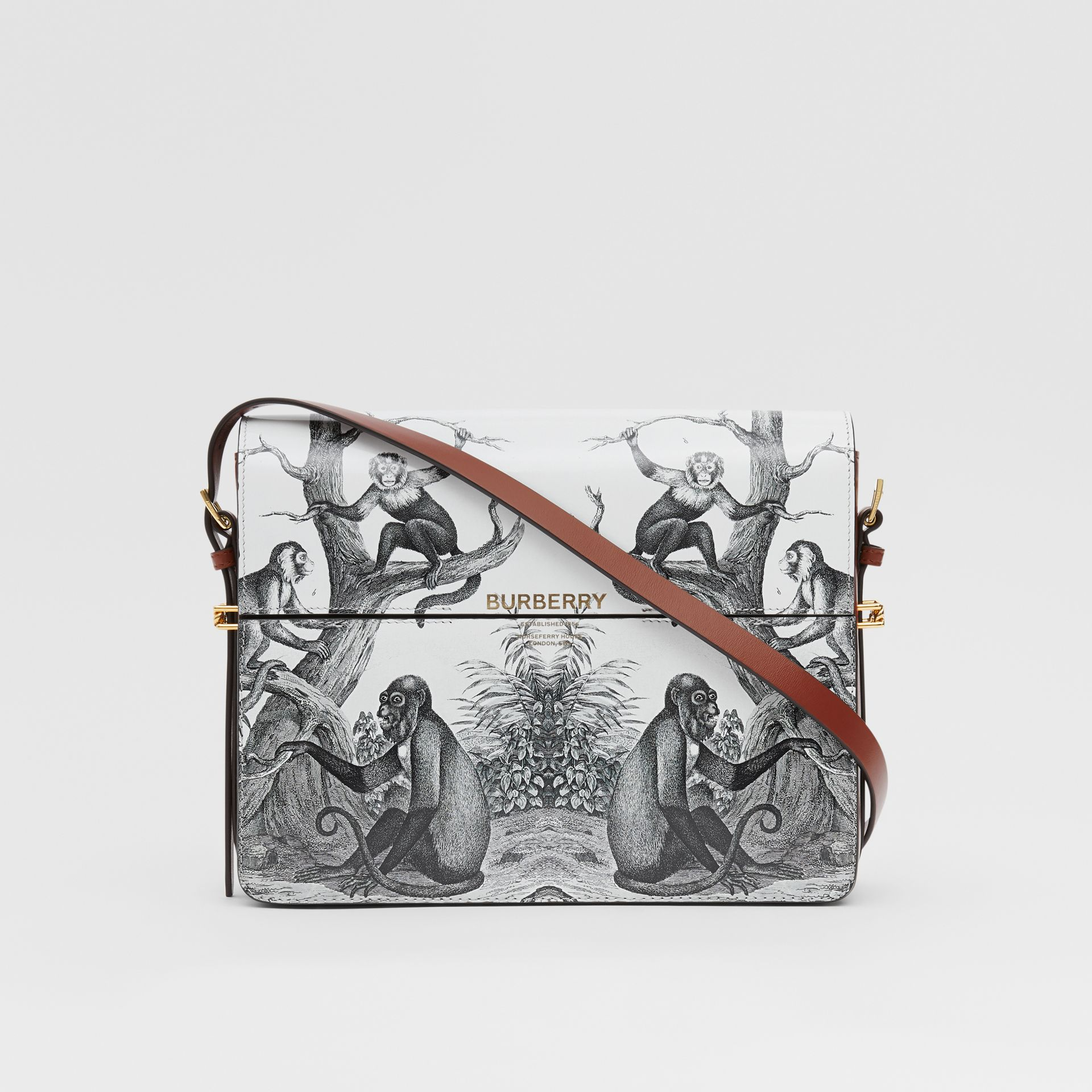 Large Monkey Print Leather Grace Bag in Black/white - Women | Burberry - gallery image 0