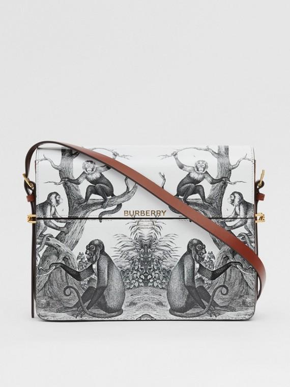 Bolso Grace grande en piel con estampado de monos (Negro/blanco)
