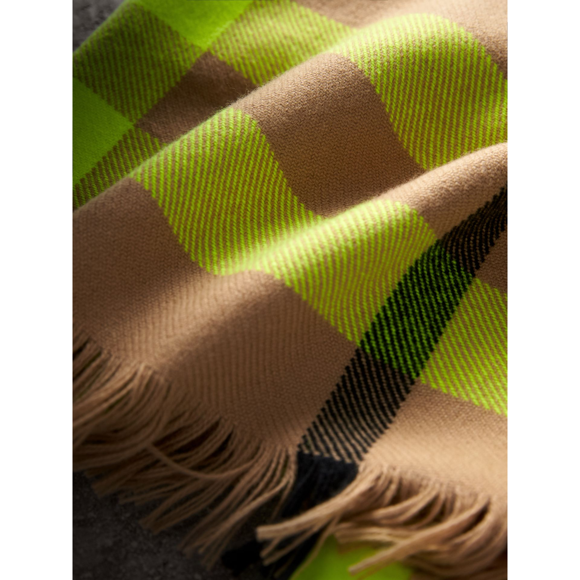 Fringed Check Wool Scarf in Neon Yellow | Burberry - gallery image 1