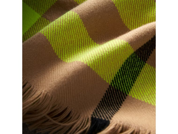 Fringed Check Wool Scarf in Neon Yellow | Burberry - cell image 1