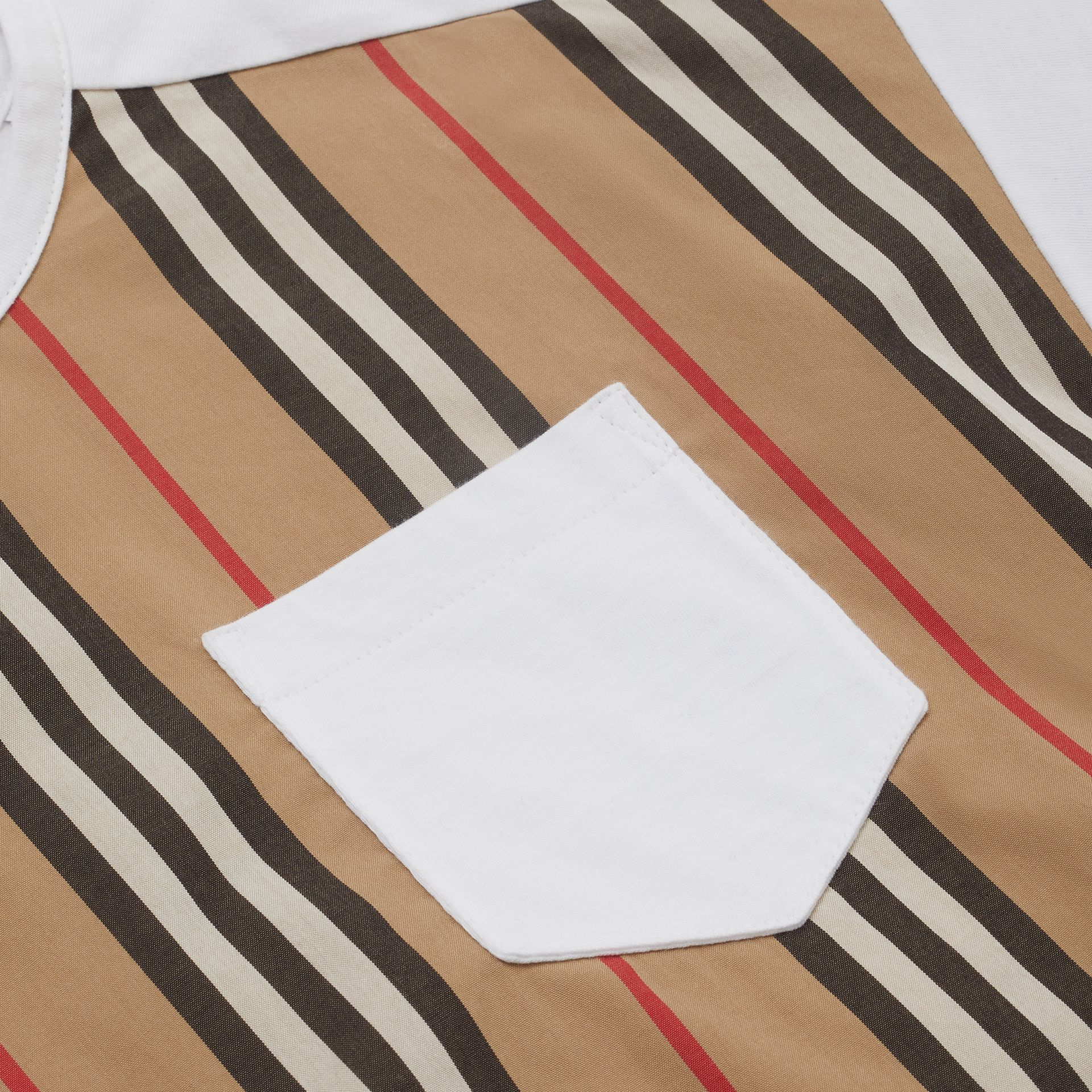 Icon Stripe Panel Cotton T-shirt in White | Burberry United Kingdom - gallery image 1