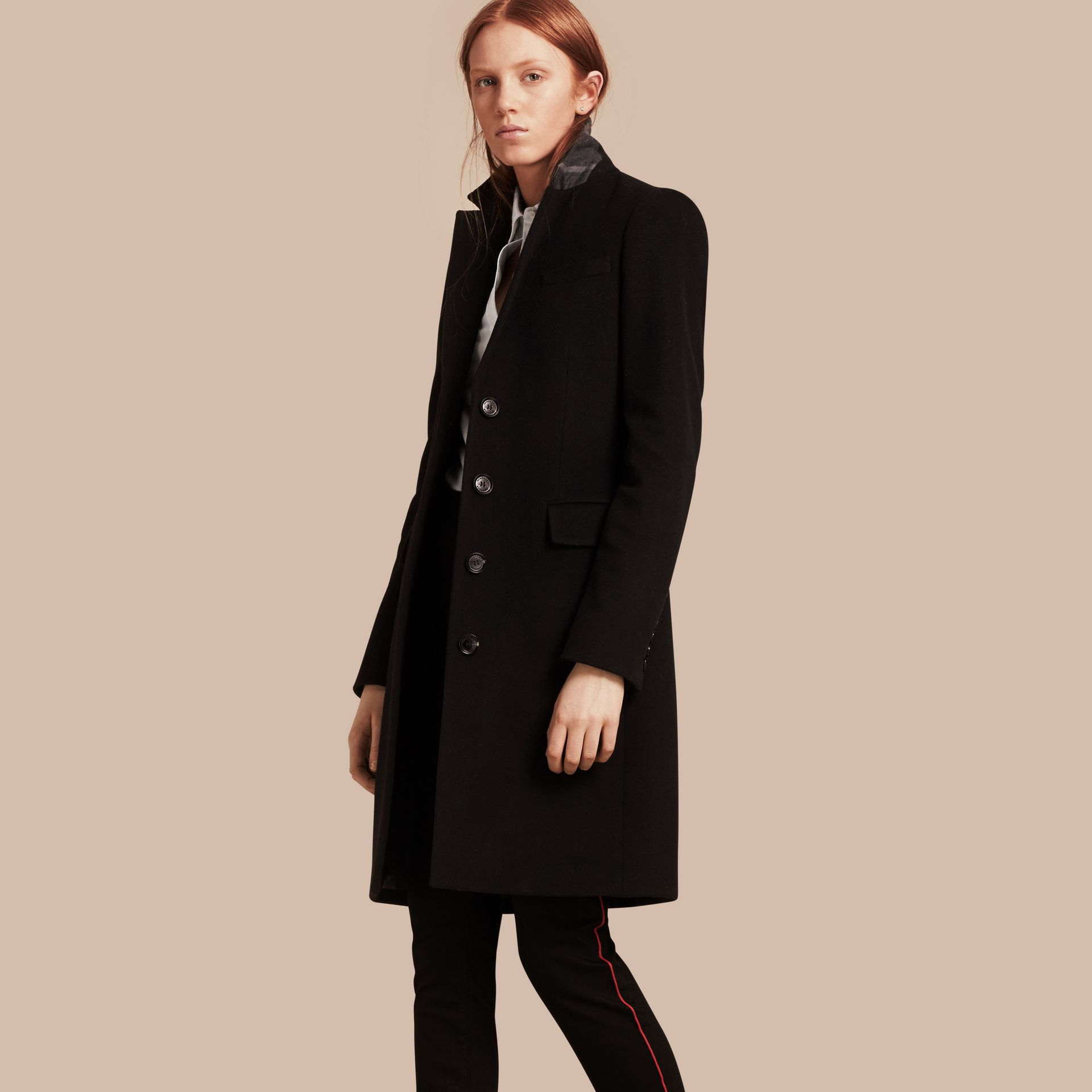 Wool Cashmere Tailored Coat in Black - gallery image 1