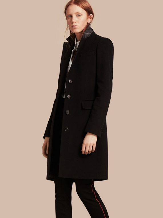 Wool Cashmere Tailored Coat Black