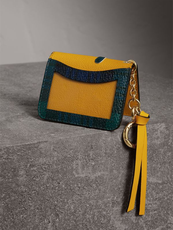 Creature Motif Leather ID Card Case Charm in Yellow Ochre | Burberry - cell image 2