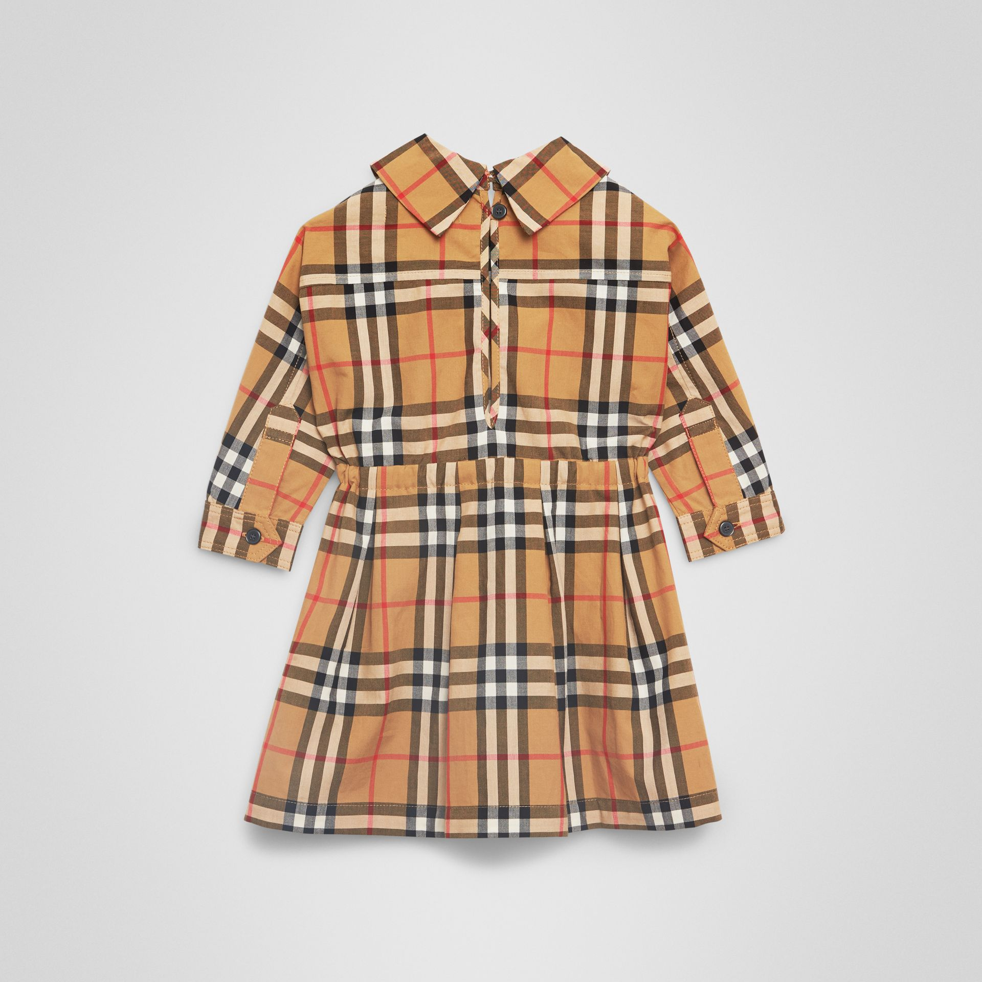 Robe à cordon de serrage en coton à motif Vintage check (Jaune Antique) - Enfant | Burberry - photo de la galerie 3