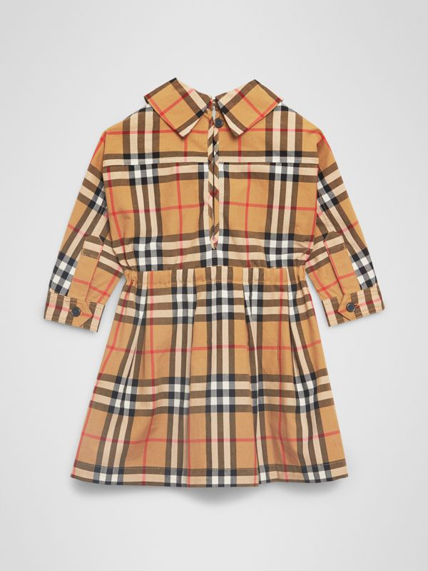 Vintage Check Cotton Drawcord Dress in Antique Yellow - Children | Burberry United Kingdom - cell image 3