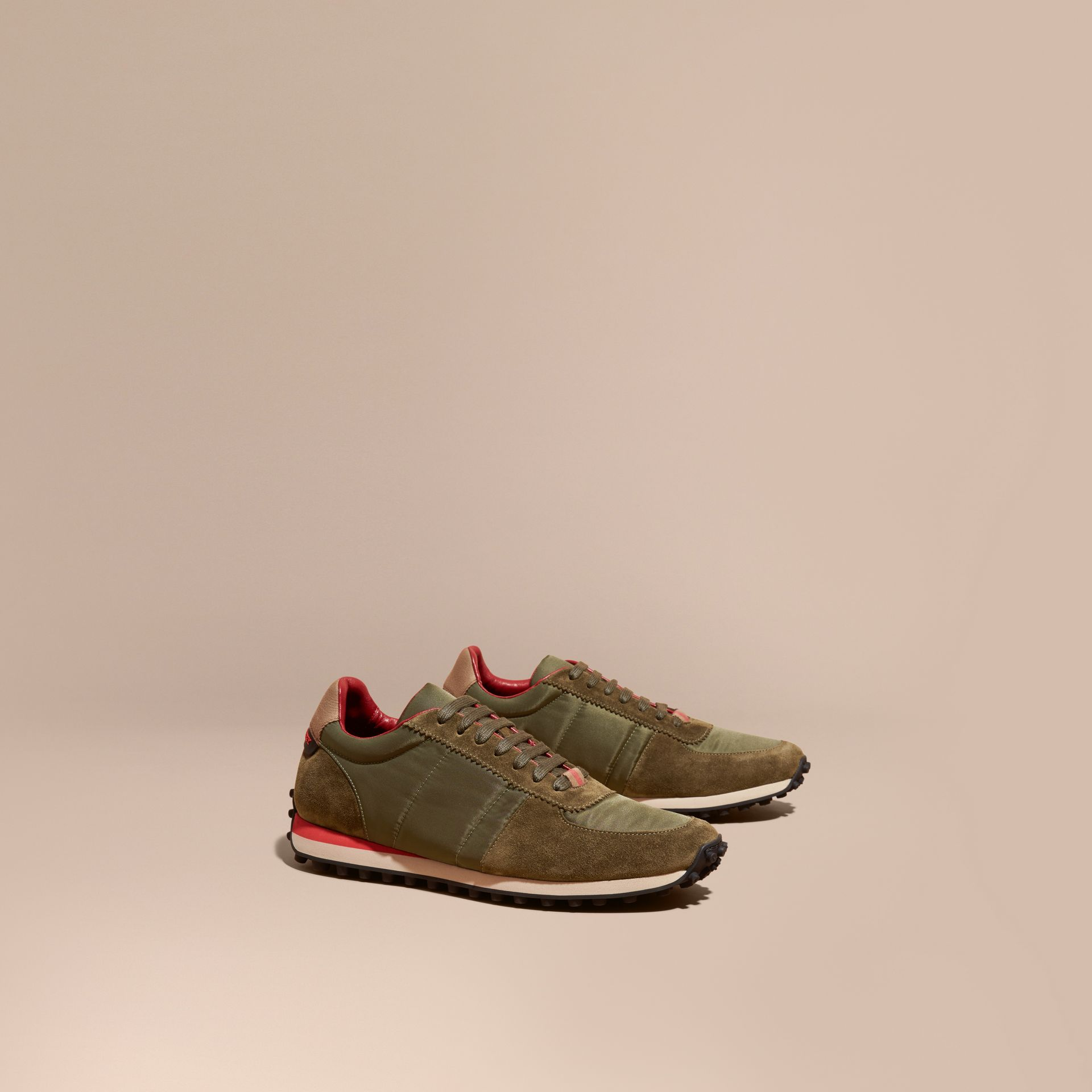 House Check Trim Suede and Technical Satin Sneakers in Olive Green - Men | Burberry - gallery image 1