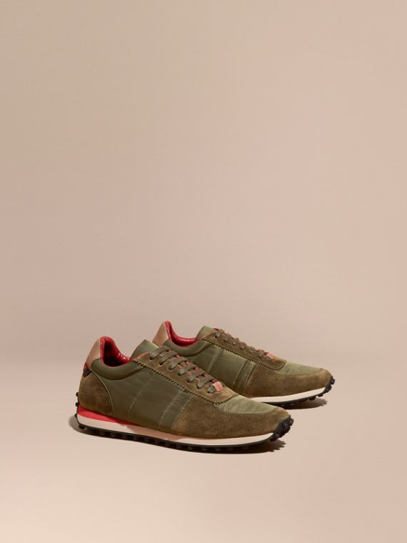 House Check Trim Suede and Technical Satin Sneakers Olive Green
