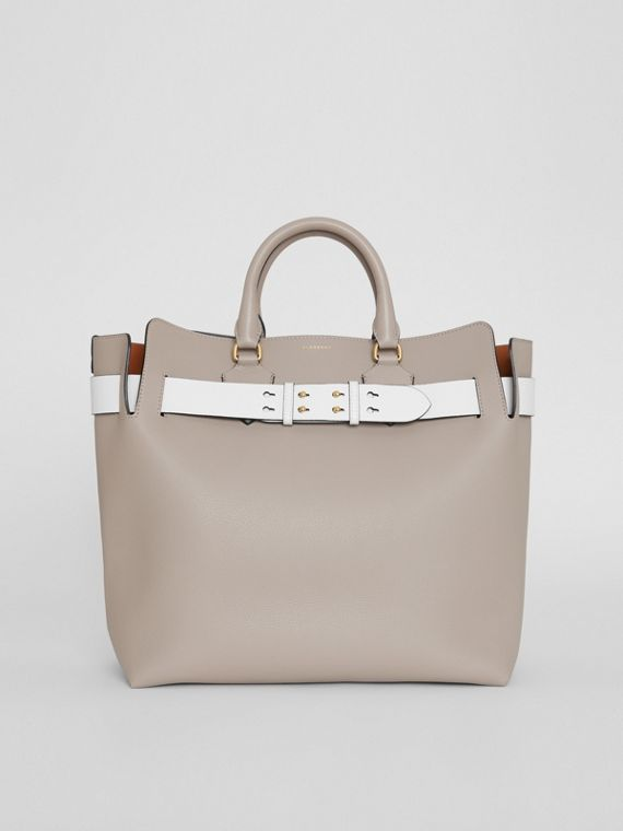 Borsa The Belt grande in pelle (Grigio Minerale)