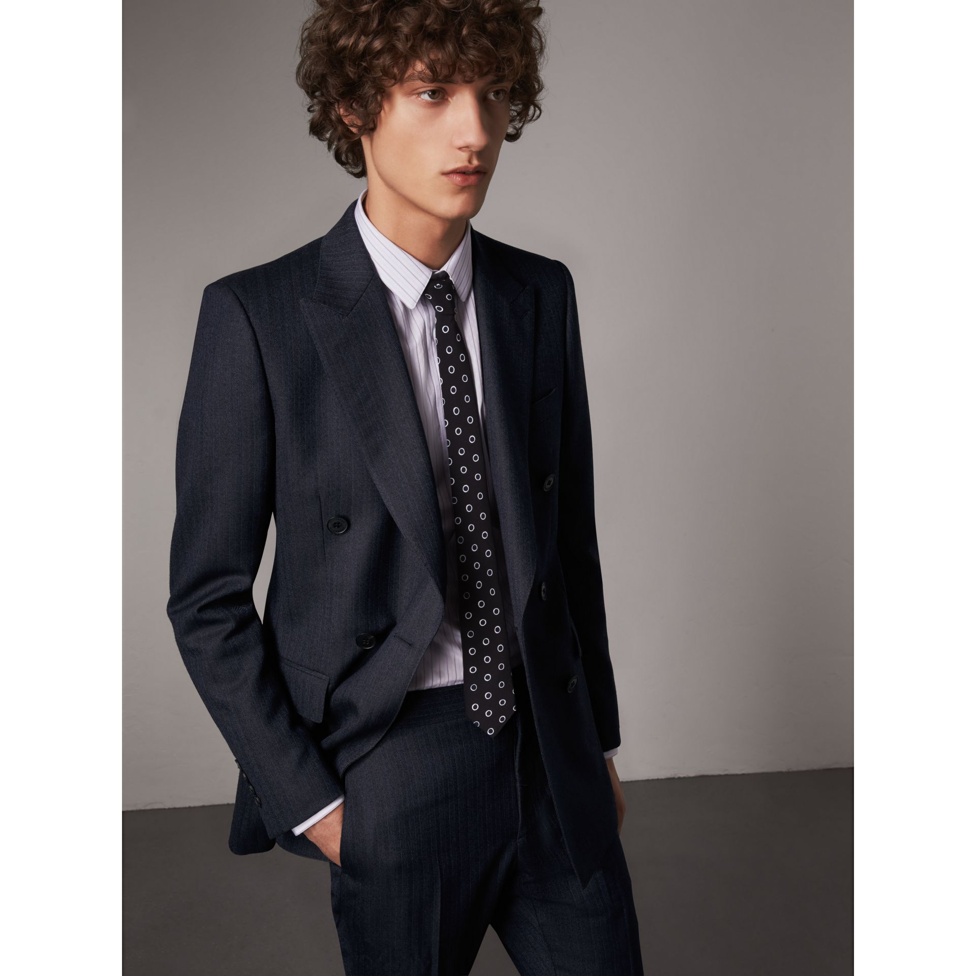 Slim Fit Double-breasted Herringbone Wool Suit in Ink Blue - Men | Burberry - gallery image 7