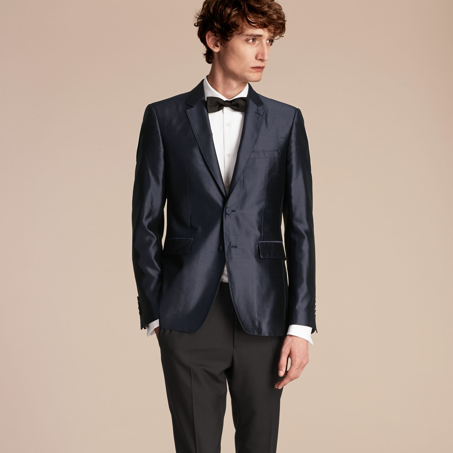 Slim Fit Tailored Silk Jacket - gallery image 7