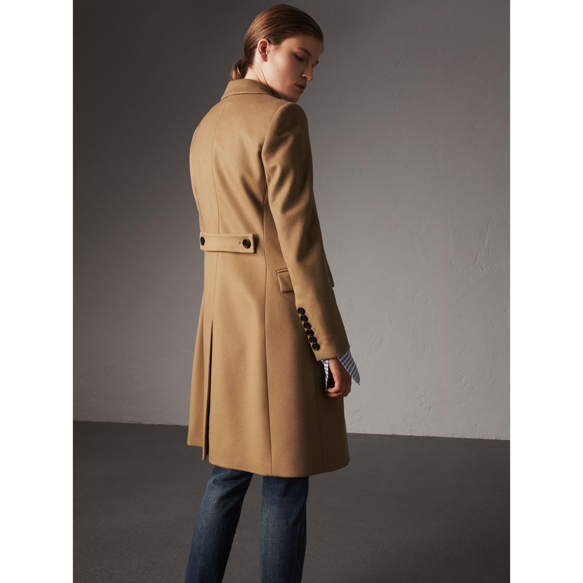 Wool Cashmere Tailored Coat in Camel - Women | Burberry - gallery image 3