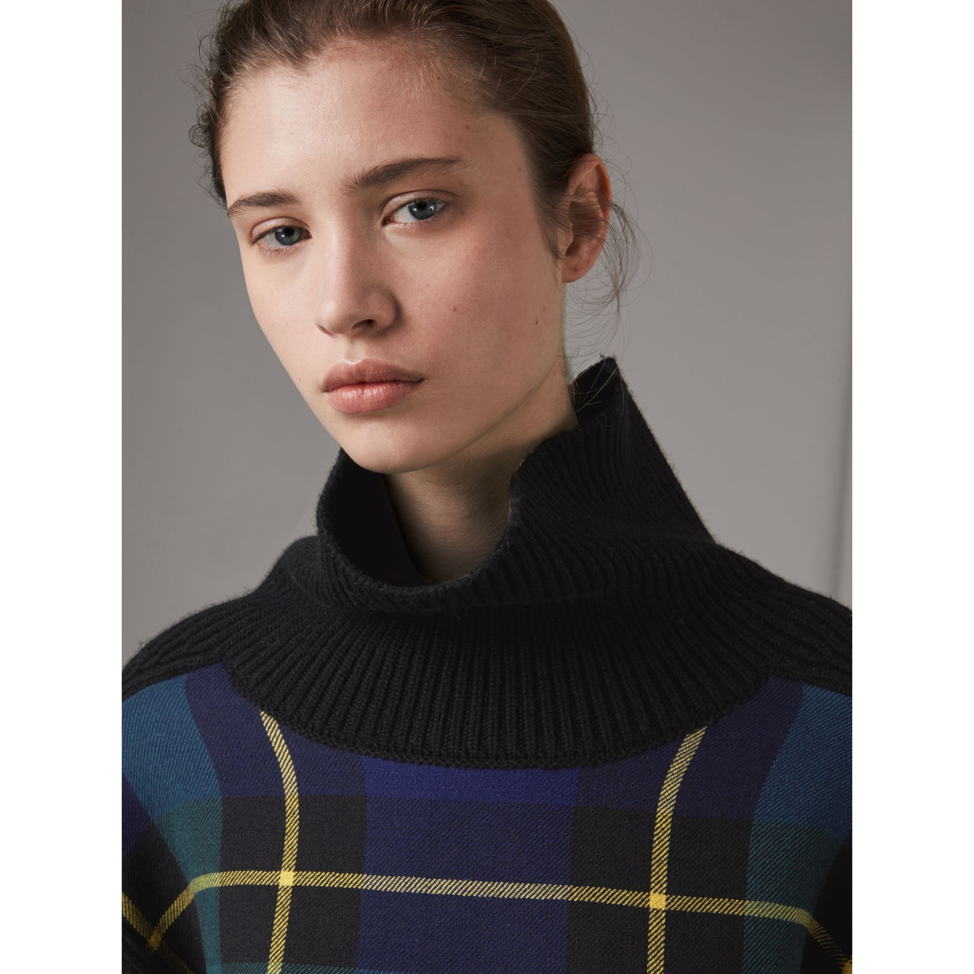 Tartan Panel Wool Cashmere Roll-neck Sweater in Black - Women | Burberry - gallery image 1
