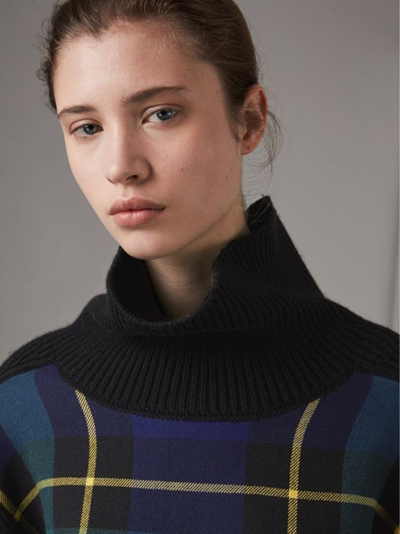 Tartan Panel Wool Cashmere Roll-neck Sweater in Black - Women | Burberry - cell image 1