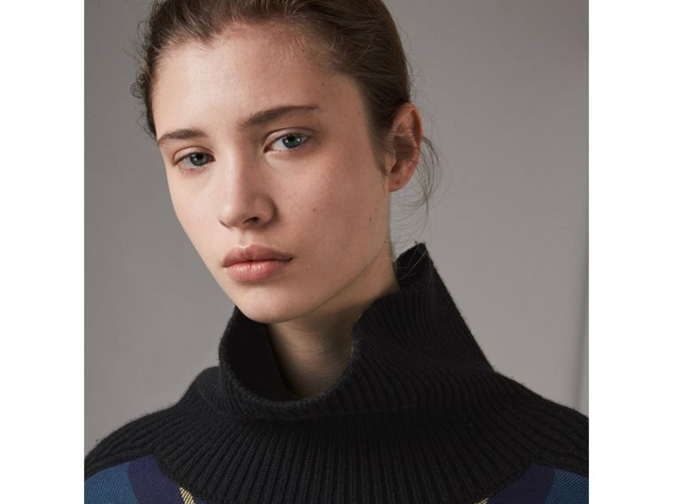 Tartan Panel Wool Cashmere Turtleneck Sweater in Black - Women | Burberry - cell image 1