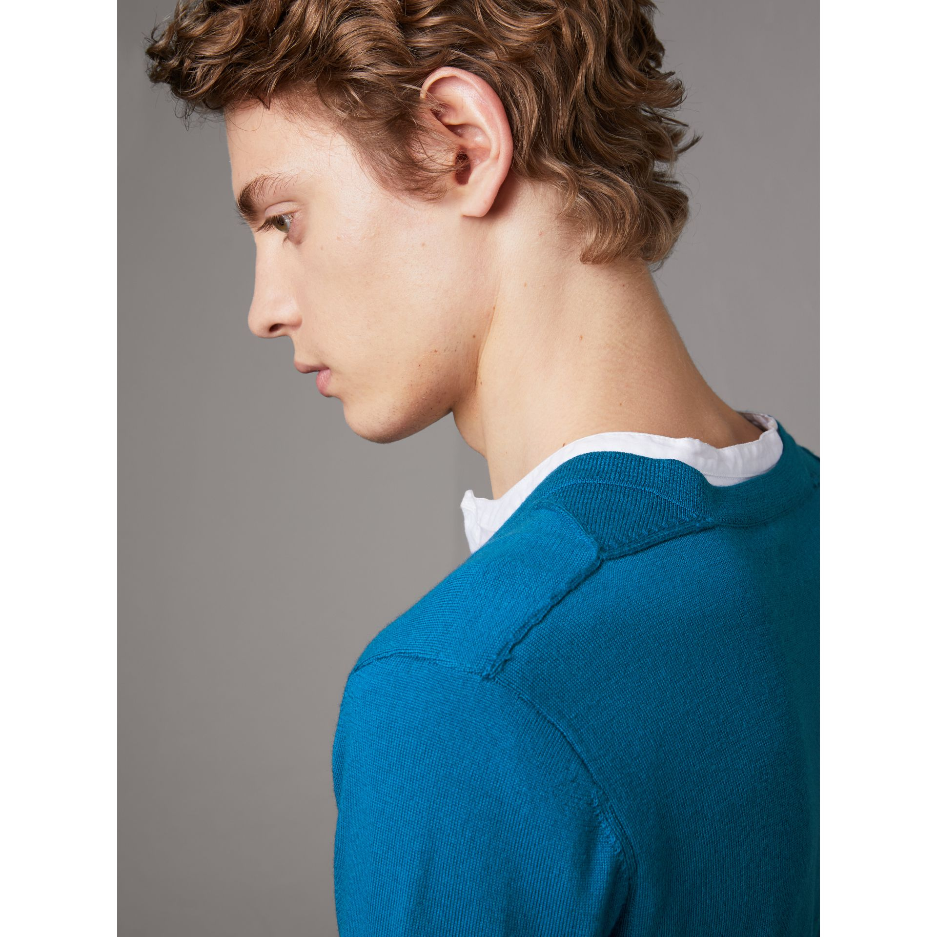 Check Detail Merino Wool V-neck Sweater in Mineral Blue - Men | Burberry - gallery image 1