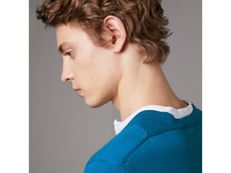 Check Detail Merino Wool V-neck Sweater in Mineral Blue - Men | Burberry United Kingdom - cell image 1