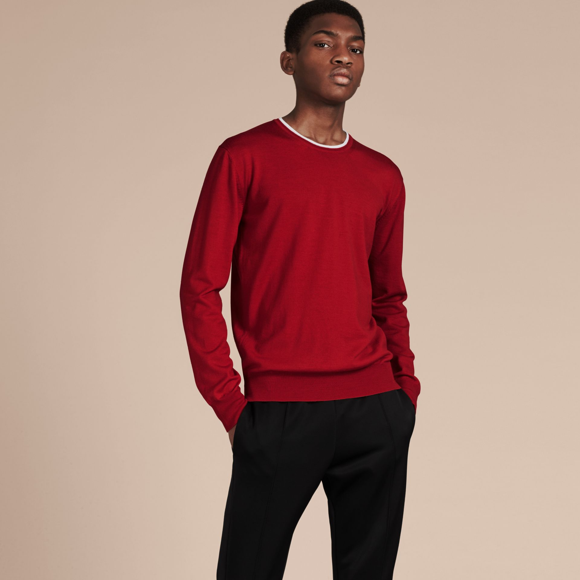 Cranberry  red/white Lightweight Crew Neck Wool Sweater - gallery image 5