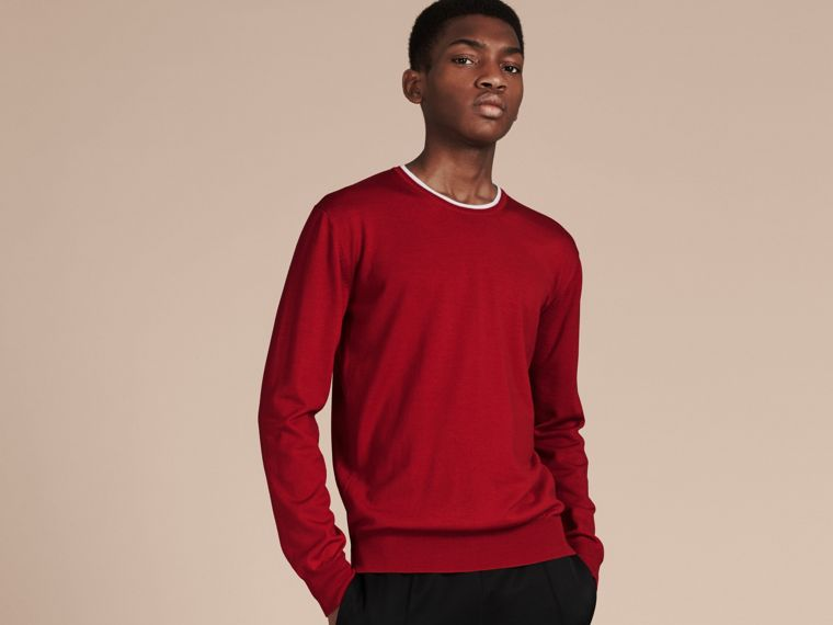 Cranberry  red/white Lightweight Crew Neck Wool Sweater - cell image 4