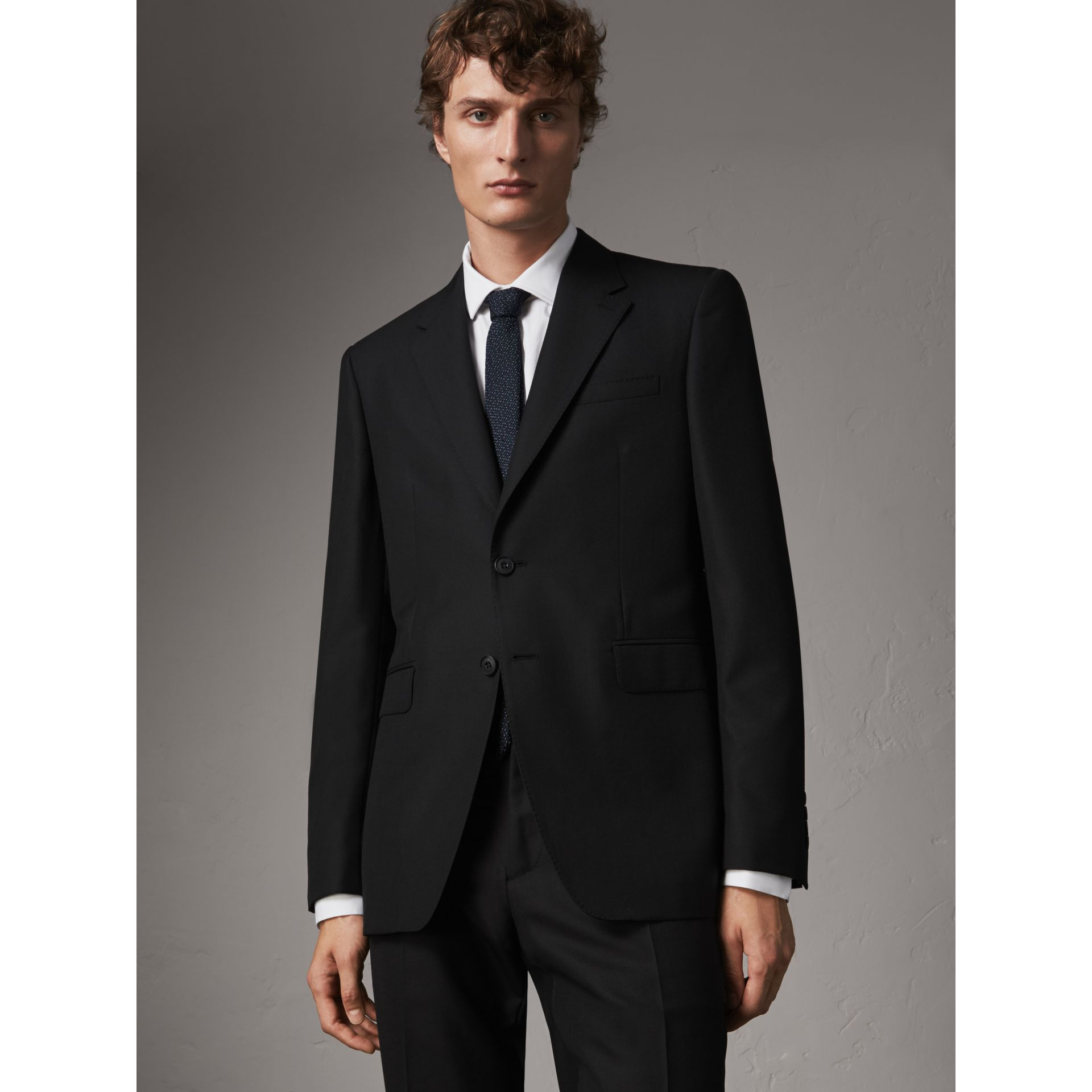 Classic Fit Wool Part-canvas Suit in Black - Men | Burberry - gallery image 7