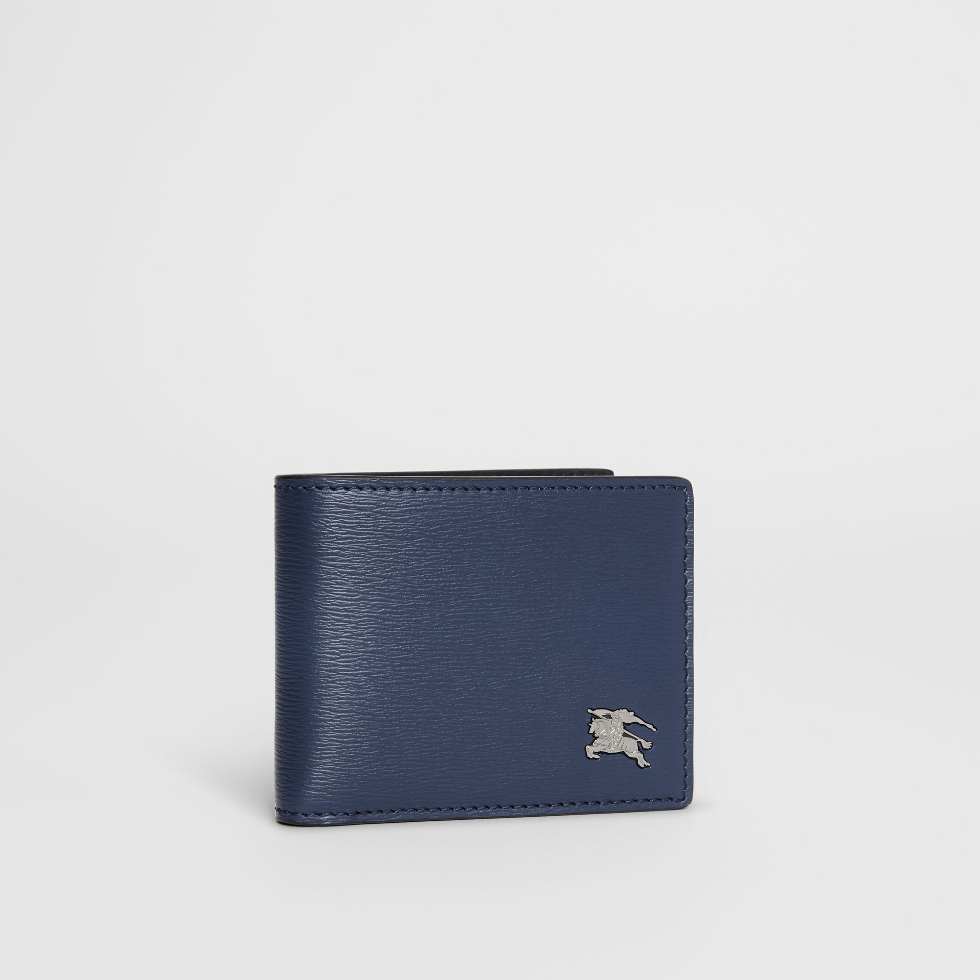 London Leather Bifold Wallet in Navy - Men | Burberry Singapore - gallery image 3