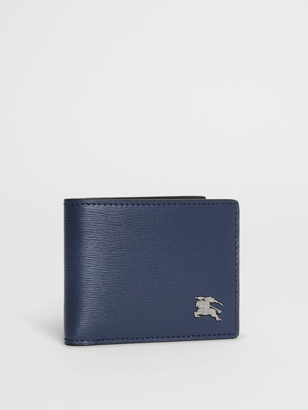 London Leather Bifold Wallet in Navy - Men | Burberry Singapore - cell image 3