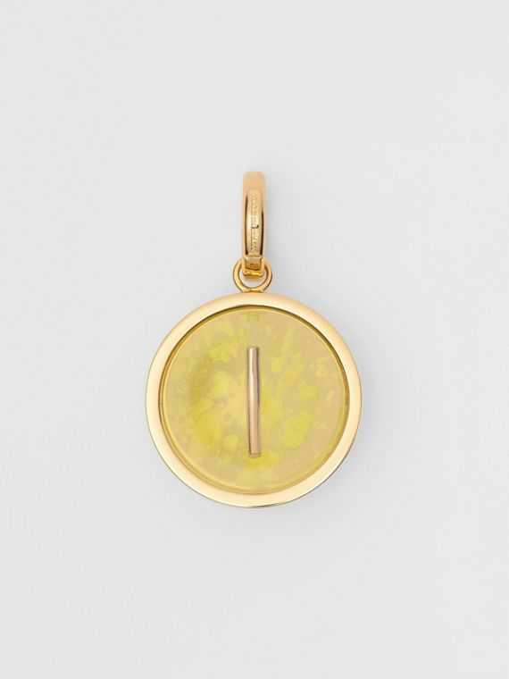 Marbled Resin 'I' Alphabet Charm in Gold/mimosa