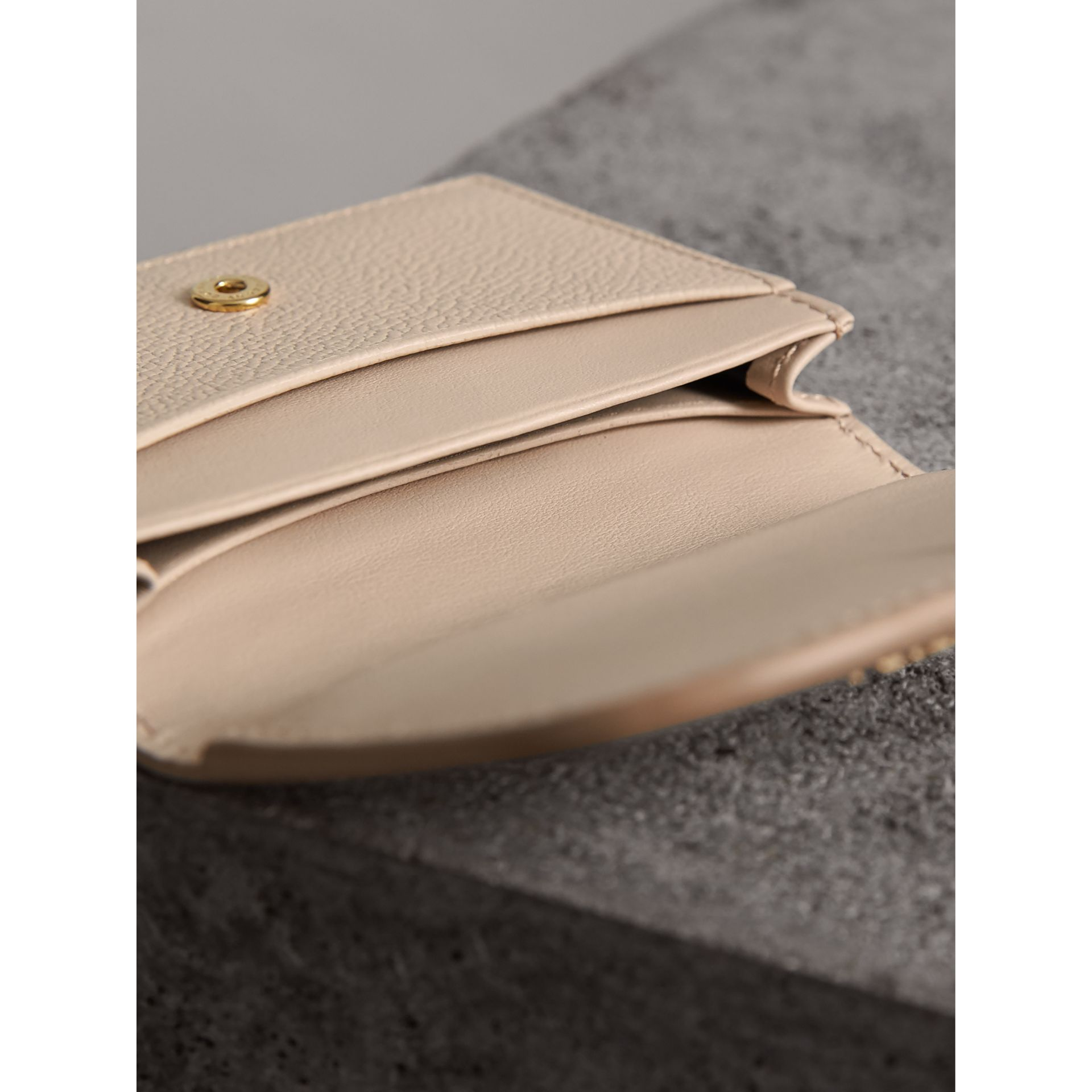 Grainy Leather Card Case in Limestone - Women | Burberry - gallery image 4