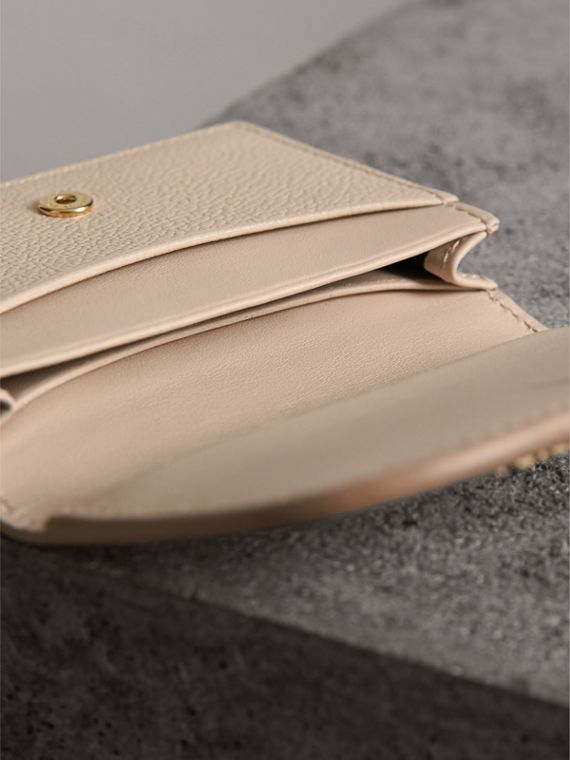 Grainy Leather Card Case in Limestone - Women | Burberry - cell image 3