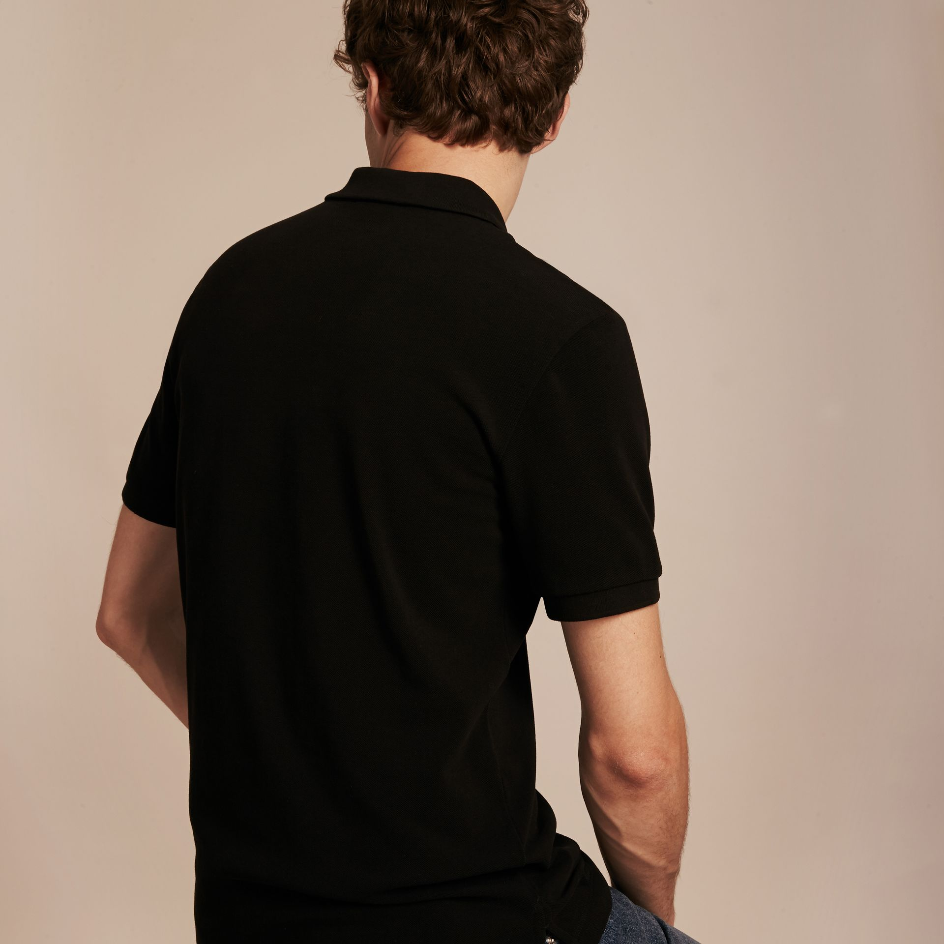 Check Placket Cotton Piqué Polo Shirt in Black - Men | Burberry - gallery image 3