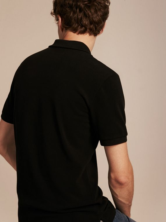 Check Placket Cotton Piqué Polo Shirt Black - cell image 2