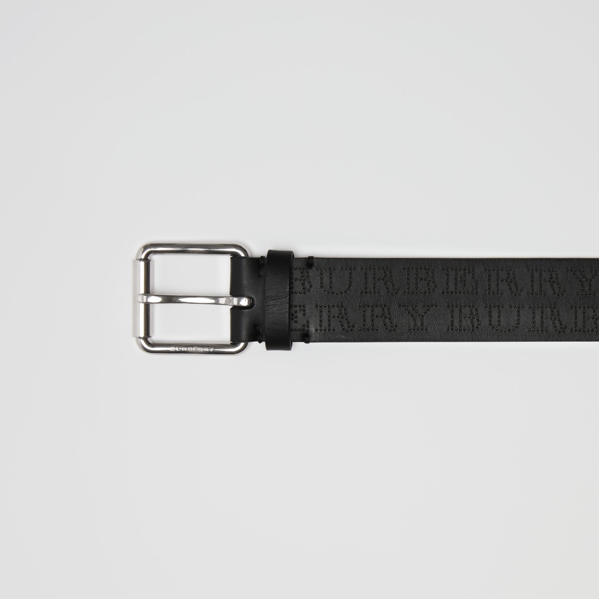 Perforated Logo Leather Belt in Black - Men | Burberry - gallery image 1