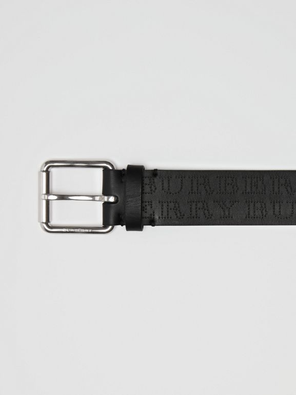 Perforated Logo Leather Belt in Black - Men | Burberry - cell image 1